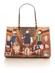 Charming multi coloured shopping print tote bag