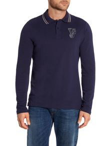 Slim fit long sleeve embroidered logo polo shirt