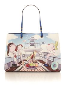 Charming multi coloured yacht print tote bag