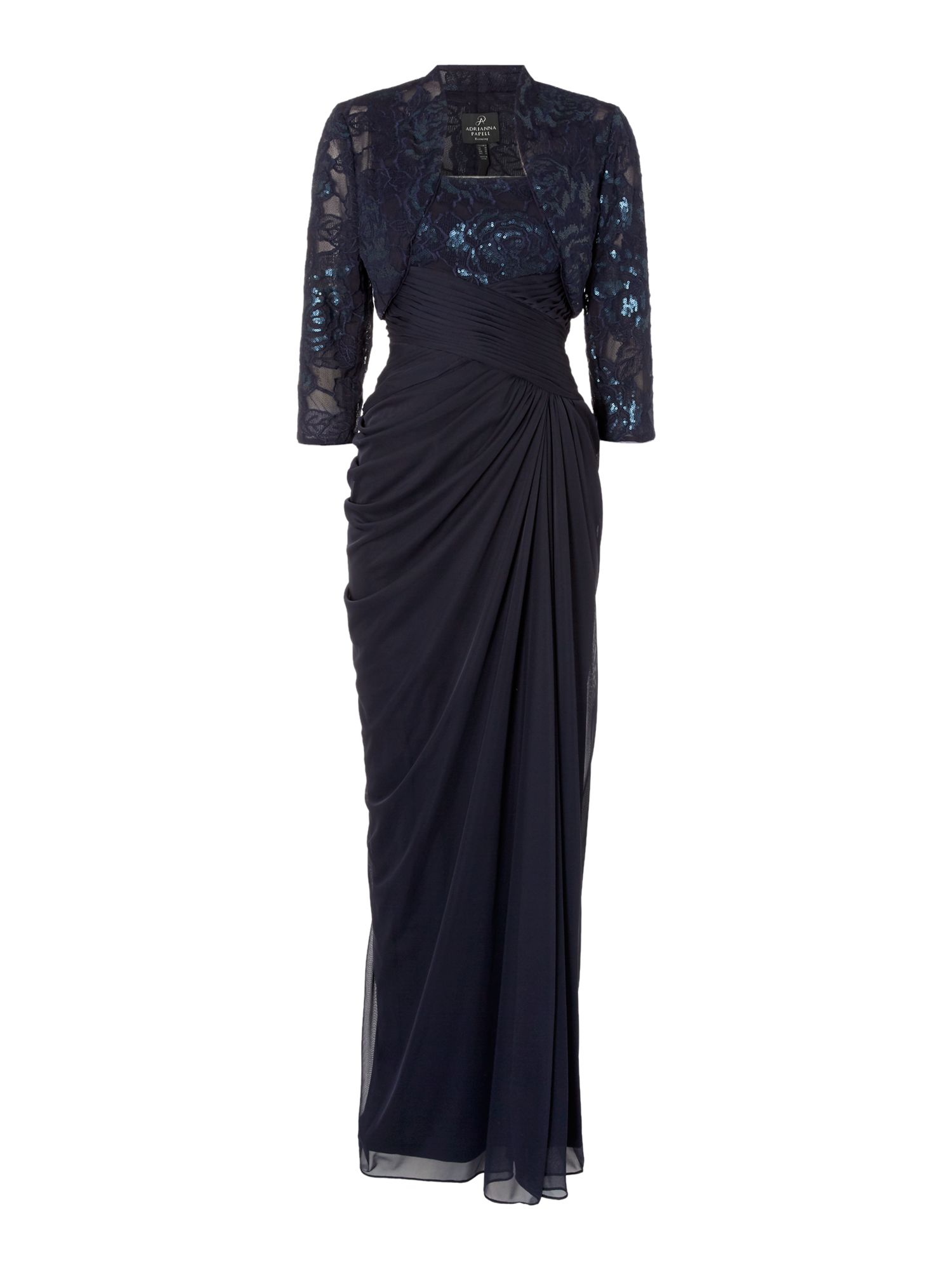 Adrianna Papell Floor length gown with sequin bodice and jacket, Blue