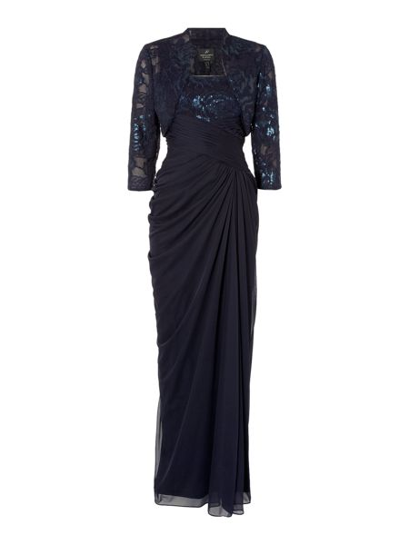 Adrianna Papell Floor length gown with sequin bodice and jacket