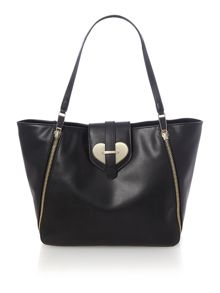 Love Moschino Metal Heart black tote bag