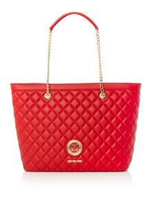 Love Moschino Superquilt red large tote bag