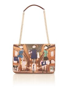 Charming multi shopping print shoulder bag