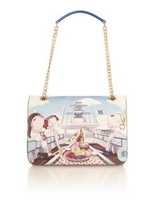 Charming multi yacht print shoulder bag