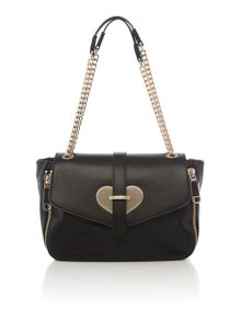 Love Moschino Metal Heart black shoulder bag