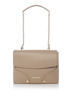 Metal taupe flapover chain shoulder bag