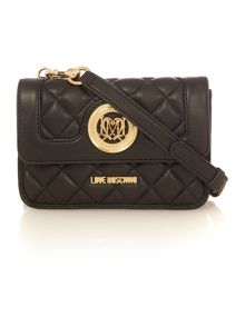 Love Moschino Superquilt black small crossbody bag