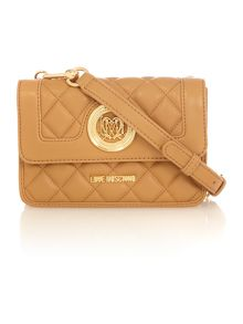 Love Moschino Superquilt tan small crossbody bag
