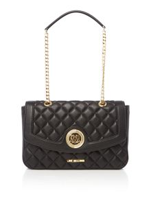 Love Moschino Superquilt black flapover shoulder bag