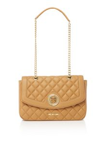 Love Moschino Superquilt tan flapover shoulder bag