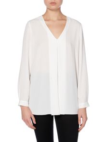 Vince Camuto Long sleeve pleated front blouse
