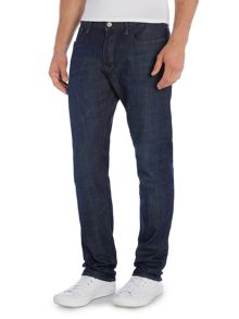 Tapered Fit Indigo Wash Jeans