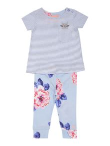 Joules Girls Stripe tee with Floral trousers