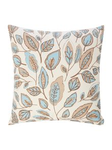 Linea Leaf design cotton cushion, duckegg