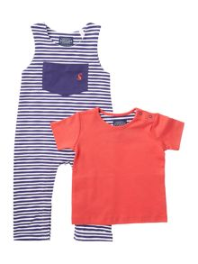 Joules Boys Stripe dungaree set with tee