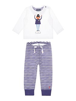 Boys Policeman applique with stripe bottom set