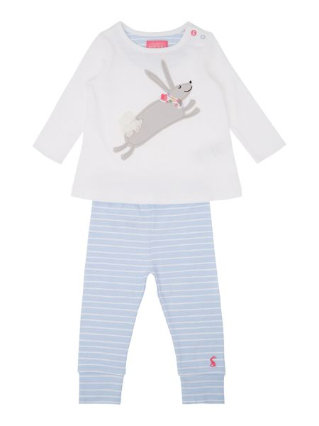 Joules Girls Rabbit logo top with striped trousers
