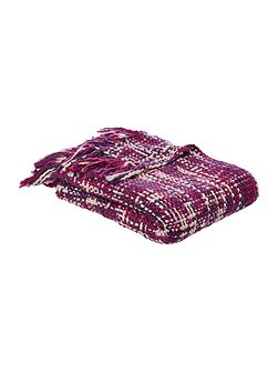 Checked woven throw, purple