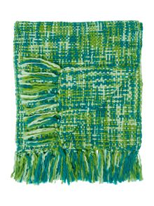 Linea Checked woven throw, Green