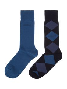 Hugo Boss 2 pack of argyle and plain socks