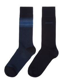 Hugo Boss 2 pack of argyle and stripe socks