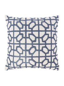 Linea Embroided tile cushion, blue