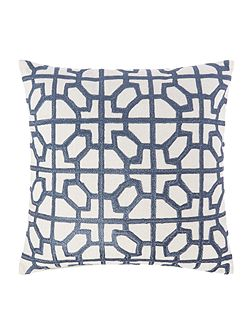 Embroided tile cushion, blue