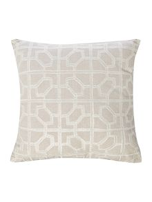 Linea Embroided tile cushion, cream