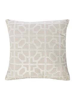 Embroided tile cushion, cream