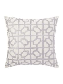 Embroided tile cushion, grey