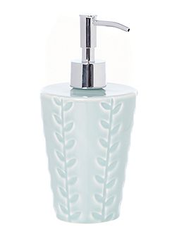 Blue embossed soap dispenser