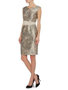 Ellen Tracy Animal floral jacquard dress