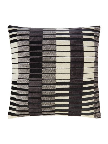Linea Block stripe cushion, black