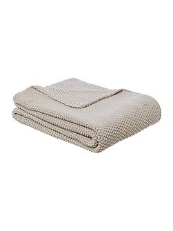 Cotton rich knit throw, grey
