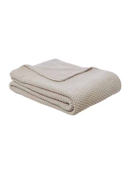 Linea Cotton rich knit throw, grey
