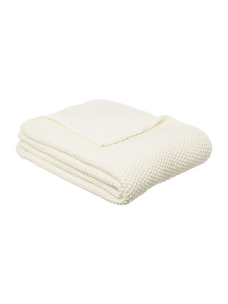 Linea Cotton rich knit throw, cream