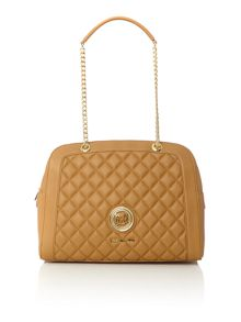 Love Moschino Superquilt tan shoulder dome bag