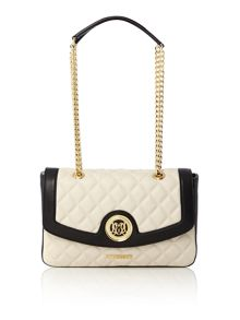 Love Moschino Superquilt monochrome flapover shoulder bag