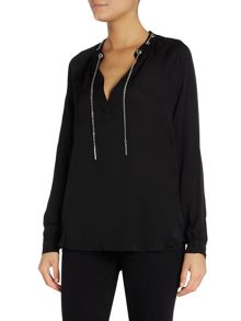 Michael Kors Long sleeve chain silk blouse
