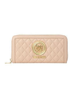 Love Moschino Quilt pink large zip around purse