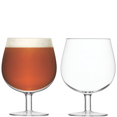 LSA Bar clear draft beer glass 550ml set of 2