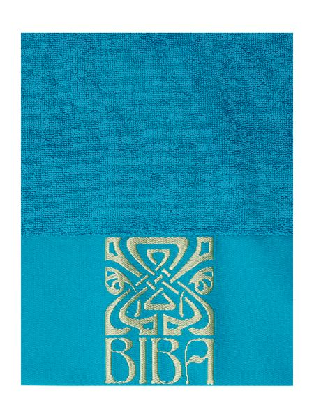 Biba Gold logo bath towel in teal