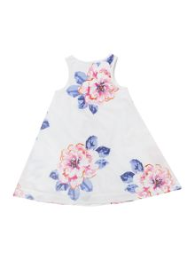 Joules Girls Floral print sleeveless flare dress