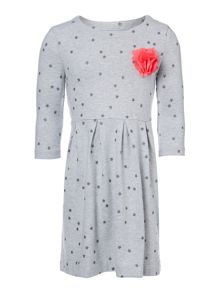 Girls Star print jersey dress with corsage