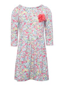 Girls Ditsy print jersey dress with corsage