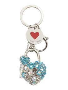 Love Moschino Blue heart & key keyring