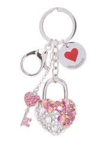Pink heart & key keyring