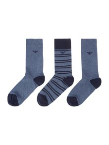 3 Pack Striped Eagle Logo Sock