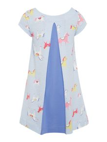 Joules Girls Horse print short sleeved jersey dress